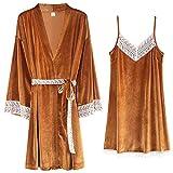 STJDM Bata de Noche,Batas Femeninas + camisón con Tirantes Finos 2pcs / Set Conjuntos de Pijamas Dorados Ropa de Dormir con Costura de Encaje XXXL LX-88679