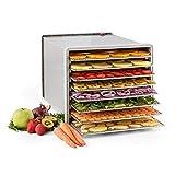 KLARSTEIN Fruit Jerky Pro - Deshidratador de alimentos, Secadora, Potencia 630W, Temperatura regulable, Carcasa de acero, 8 pisos extraíbles, Plateado