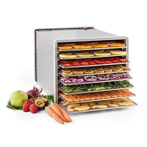 Klarstein Fruit Jerky Pro 8 - Dörrgerät, Dörrautomat, 630 Watt, 8 Etagen, einstellbare Temperatur, 0,86 m² Trockenfläche, Edelstahl-Gehäuse, einfache Reinigung, silber