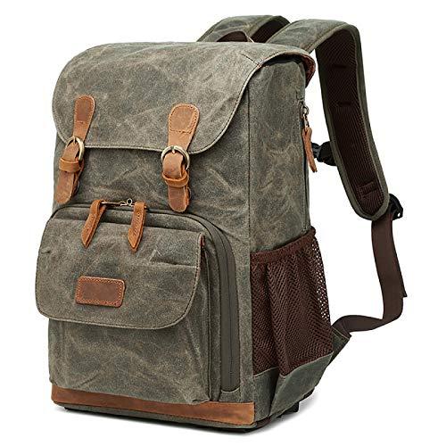 Camera Canvas Backpack, Photography Bag, Large Capacity Waterproof Anti-shock Camera Rucksack,ArmyGreen