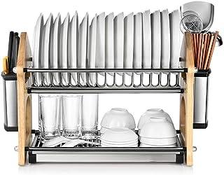 Estante De Cocina Doble Vertical Simple Roble Acero Inoxidable Multi-Función Segura Colgante Plato De Almacenamiento Rack...