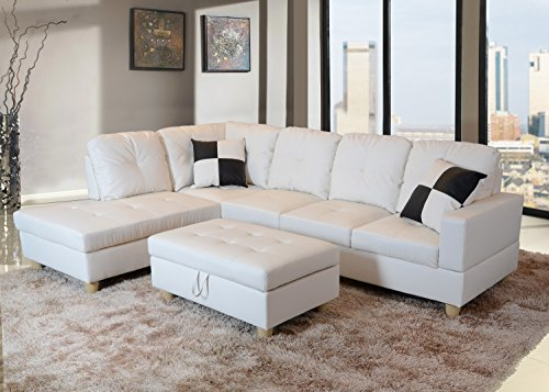 LifeStyle Furniture Left Facing 3PC Sectional Sofa Set,Faux Leather,White(LS092A)