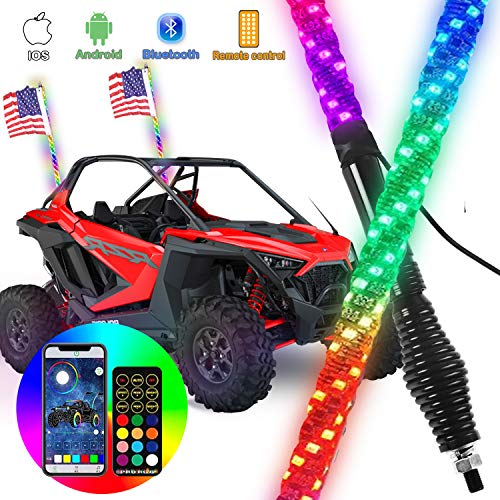 omotor 2pcs 3ft LED Spiral RGB Led Whip Light with Spring Base Chasing Light with Bluetooth and Remote Control Lighted Antenna Whips for Can-Am ATV UTV RZR Polaris Dune Buggy Offroad Truck