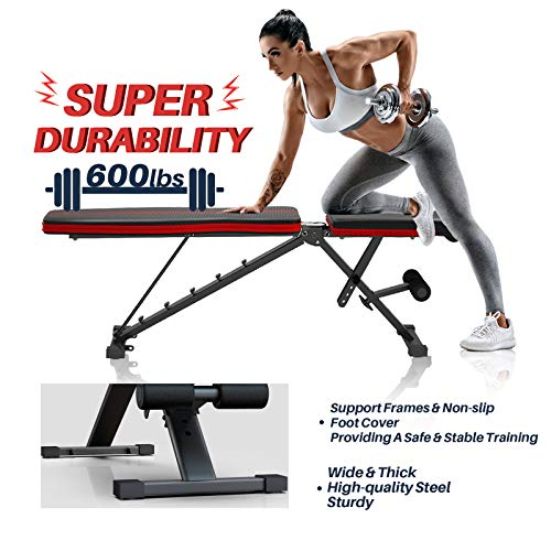 WEMARS Adjustable Weight Bench, Foldable Utility Workout Bench for Home Gym, Incline Decline Strength Training Benches for Full Body Workout with 2 Resistance Bands