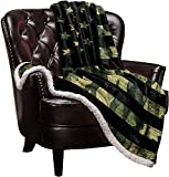 Sherpa Fleece Blanket,Camo American Flag Patriotic Stars and Stripes Bed Blanket Soft Cozy Luxury Blanket 50