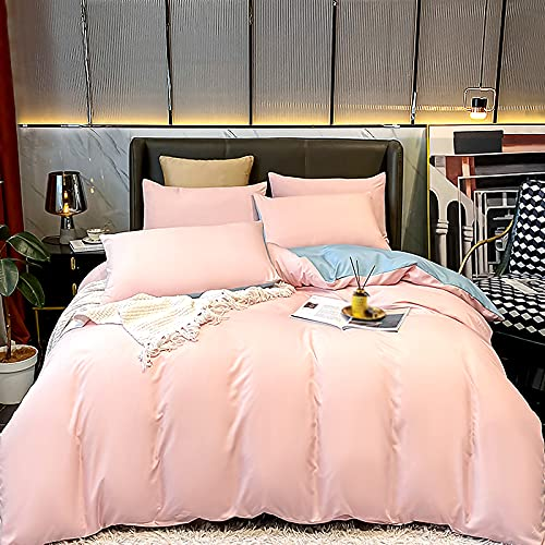 HXYSP Ropa De Cama Suave Juego De Sábanas Gemelas De Microfibra 4 Piezas, Juego De Sábanas Gemelas para Niños, Funda Nórdica con Patrón De Color Sólido,Pink-Single