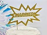 DKISEE Decoración para tartas con diseño de libro de cómics casado con texto 'Boom Married Married Married Comic'