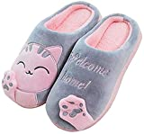 JACKSHIBO Herren Hausschuhe, Warme Plüsch Hausschuhe Indoor rutschfeste Slippers Cartoon Cat Pantoffeln Für Damen, Grau, 40/41 EU