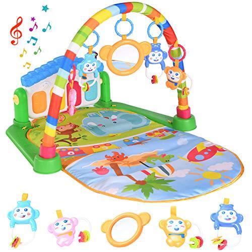 HIUME Gimnasio Bebé, Manta de Juego para Bebé Recién Nacido, Juguetes para Bebés Multiusos,Juguetes con Música y Luces para Niños y Niñas, Regalo para Bebés Pequeños de 0 a 6-12-24 Meses