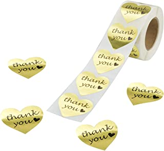 RBHK Gold Foil Thank You Sticker Heart Shape Labels, 500 Stickers per Roll (1 Roll)
