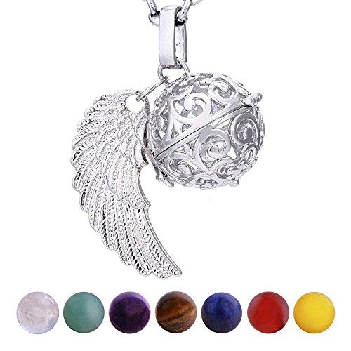 Morella Damen Halskette 70 cm Edelstahl mit Anhänger Engelsflügel und 7 Edelsteinen Chakren-Kugeln in Schmuckbeutel
