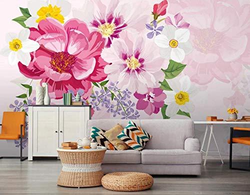 MKmd-s Geometric Background Stereoscopic 3D Mural, Modern Fresh Hand-Painted Flowers Idyllic Living Room