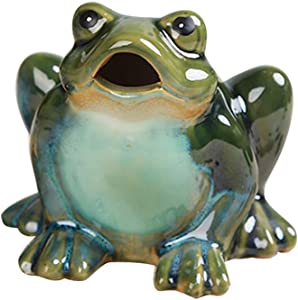 ZAMTAC Frog Motion Sensor Statue Ceramic Frog Garden Statue Garden Lawn Ornaments for Home Decoration - Jumping Style Jump