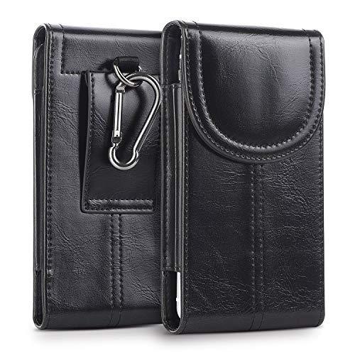 kiwitatá Belt Holster for iPhone 12 Pro Max, Cellphone Belt Holster Carrying Hanging Waist Bag Sleeve for iPhone 11 Pro Max 8 Plus 7 Plus Galaxy S21 Plus S10+ A50 S20 Black