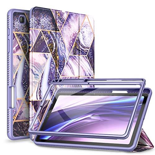 """SURITCH Custodia Cover per Samsung Galaxy Tab S6 Lite 10,4"""" 2020 con Cavalletto Pieghevole e Protezione per Display Integrata Slim Smart Case con Auto Sveglia/Sonno Funzione -Viola"""