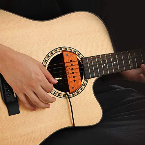 Donner Pastilla de guitarra acústica, DSS-6A Pastillas de guitarra Active caoba Soundhole Pickup con micrófono ajustable cabezas humbucker para guitarra acústica