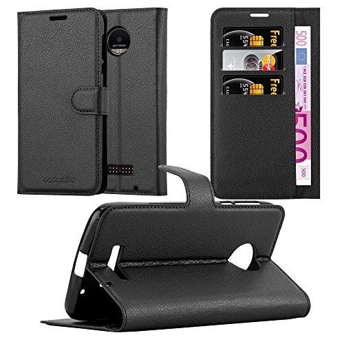 Cadorabo Hülle für Motorola Moto Z Force in Phantom SCHWARZ - Handyhülle mit Magnetverschluss, Standfunktion & Kartenfach - Hülle Cover Schutzhülle Etui Tasche Book Klapp Style