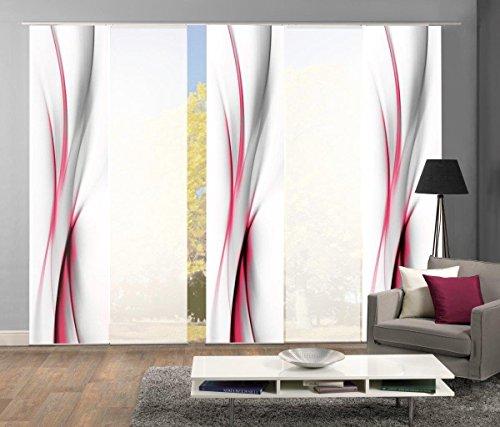abitiamo< 95095 Flächenvorhänge 5er-Set UFA, in grau oder rot, Flächenvorhang Rochelle + Uni-Flächenvorhang ROM   Farbe des Sets: ROT