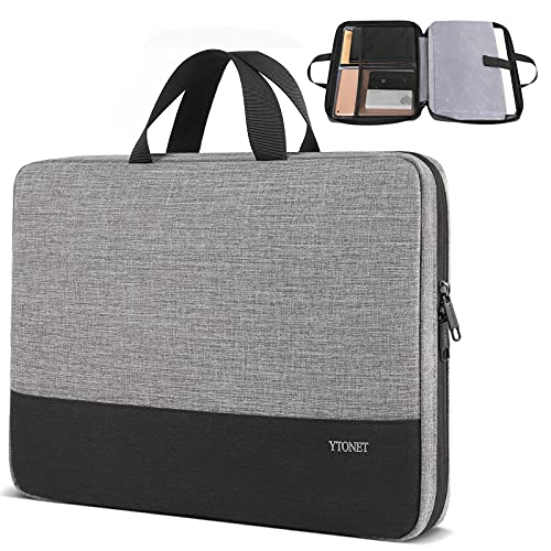 Ytonet Laptop Case, 15.6 inch TSA Laptop Sleeve Water Resistant Durable Computer Carrying Case for 15.6 inch HP, Dell, Lenovo, Asus Notebook, Gifts for Men Women, Grey