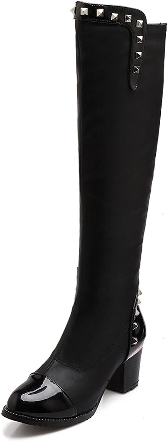 AIWEIYi Womens Patent Leather Stretch Over The Knee Boots Thick High Heels Thigh High Boots Black