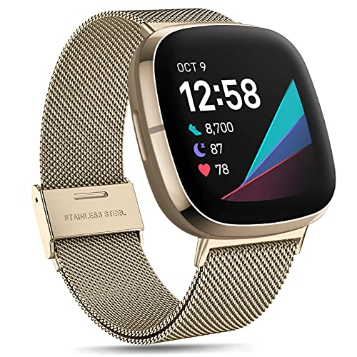 fuvoki Correa de Metal Compatible con Correa Fitbit Versa 3/Fitbit Sense, Correas de Repuesto de Malla Metálica de Acero Inoxidable Compatible Fitbit Versa 3 / Sense, Pequeña Dorado