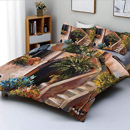 Zozun Duvet Cover Set,Terrace Flowers and Garden House Greece with Rustic Window Oil Painting Decorative 3 Piece Bedding Set with 2 Pillow Sham,Green Brown and Peach,Best Gift For Kid