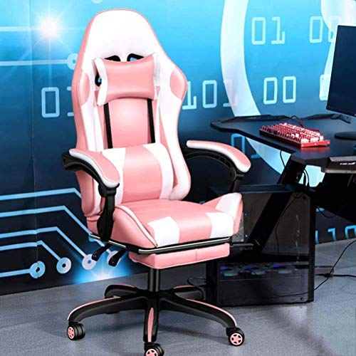 WSDSX Office Chairs Gaming Chair with Bluetooth&Footrest,Ergonomic High Back Computer Racing Chair, PU Leather Executive Office Desk Chair Height Adjustment Massage Game Chair (Color : C