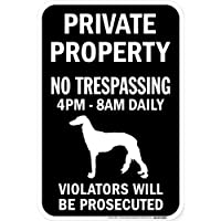 PRIVATE PROPERTY ブラックマグネットサイン:サルーキ シルエット 英語 私有地 無断立入禁止