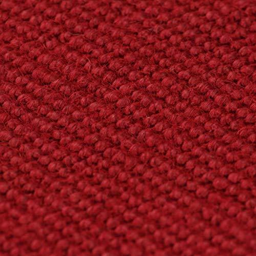 Xingshuoonline Teppich Jute mit Latexrücken Rot für Wohnzimmer Schlafzimmer Vorleger 140 x 200 cm