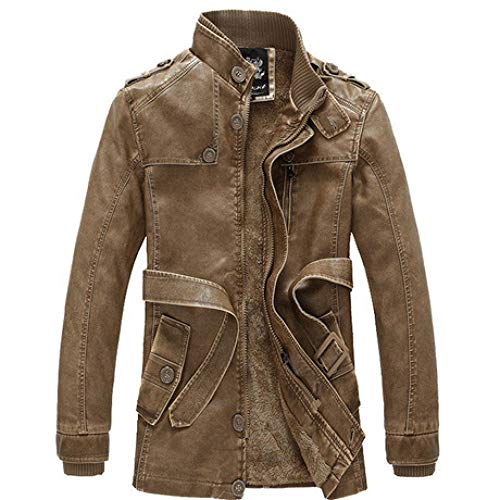 Men's Jacket Hoodie Cardigan Hooded Pullover Vintage Retro plus velvet mid-length-khaki _XXXL