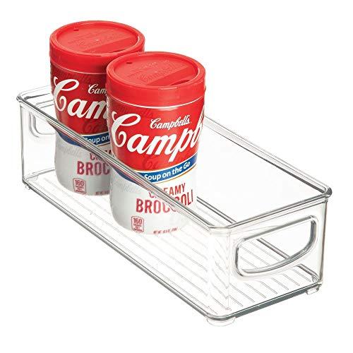iDesign Aufbewahrungsbox für die Küche, kleiner Küchen Organizer aus Kunststoff, offene Kühlschrankbox mit Griffen, durchsichtig