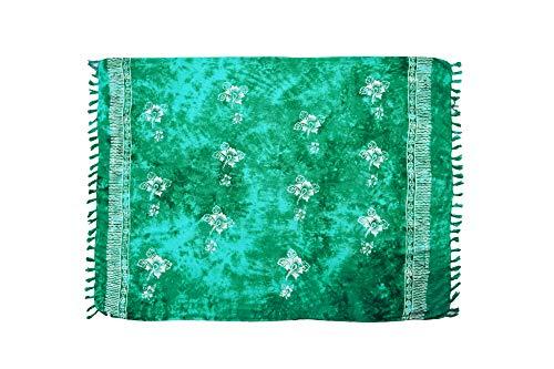 ManuMar Paréo Femme plage, Serviette de plage, Sarong vert avec motifs hibiscus, 175 x 115 cm, serviette de bain robe d'été en look hippie, sauna hamam lunghi bikini robe de plage