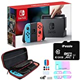 Newest Nintendo Switch with Neon Blue and Neon Red Joy-Con - 6.2' Touchscreen LCD Display, 32GB Internal Storage, 802.11AC WiFi, Bluetooth 4.1 - Blue and Red - 128GB SD Card + 12-in-1 Carrying Case