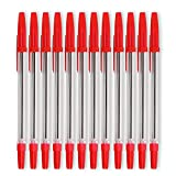 12 Red Stick Pen with Cap and Comfort Cushion Grip Medium Point Roller Ball Pens for Smooth Writing Bulk Pack Perfect for Home, School, or Office By Emraw (Pack of 2)