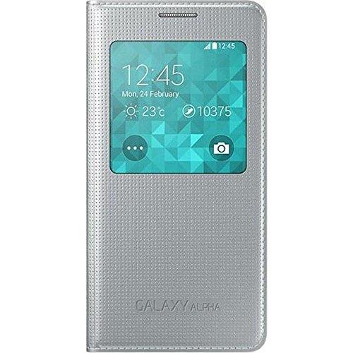 Samsung S-View Schutzhülle Flip Case Cover für Samsung Galaxy Alpha - Silber