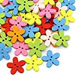 Broadfashion Wooden Buttons Butterfly Wood Craft Clothes Buttons for Sewing Scrapbooking and DIY Crafting Baby Clothes 50 Pack