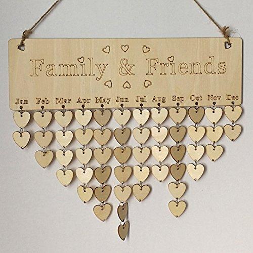 Wood DIY Calendar Family Friends Birthday Reminder Board Plaque Sign Board Home Decor