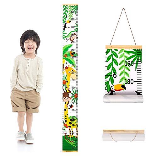 metagio Messlatte Kinder, Höhe Wachstum Diagramm Aufrollbare Aufhängen Messlatte Lineal Abnehmbar Baby Messtabelle, Kinderzimmer Schlafzimmer Wanddekoration(Giraffe)