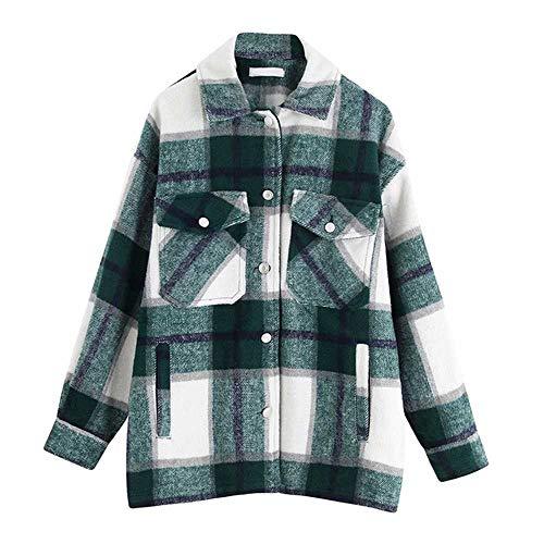 Plaid Overshirt Wool Blend Jacke Karo Revers Kragen Langarm Mantel Frauen Übergroße Taschen Mit Klappen Knopf Jacken Tops