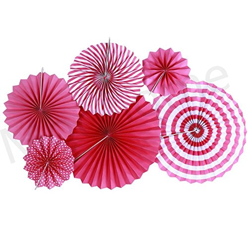 Moohome Hot Pink Hanging Paper Fans Set,Colorful Round Pattern/Paper Garlands for Party/Wedding/Birthday/Festival/Christmas/Event 6pc/Set