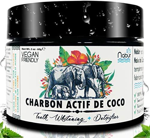 Nabür - Poudre Charbon Actif de Coco 100% Naturel | Menthe Peppermint | Charbon dent blanche - Poudre de blanchiment des dents, Poudre de charbon blanchissante | Blanchiment dentaire | 60Gr