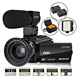Video Camera 4K Camcorder AiTechny HD Digital WiFi Vlogging Camera 48MP 16X Digital Zoom Recorder IR...