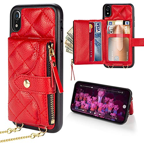 LAMEEKU Wallet Case Compatible with iPhone XR, Crossbody Wallet Case wth Card Holder Handbag Case with Strap for Women Shockproof Case for iPhone XR 6.1'', Red