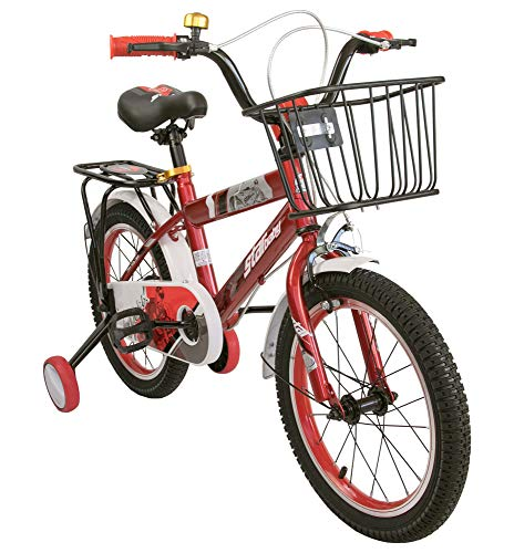Airel Kinderfahrräder für Jungen und Mädchen | Fahrrad mit Rollen und Korb Kinderfahrrad | Fahrrad Kinder 16 und 18 Zoll | Fahrräder Kinder 4-7 Jahre | Farbe: Rot Zoll: 18