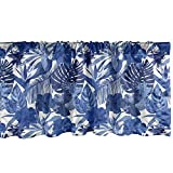 Ambesonne Philodendron Window Valance, Pattern with Tropical Leaves, Curtain Valance for Kitchen Bedroom Decor with Rod Pocket, 54' X 12', Cobalt Blue