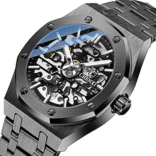 Herren Uhr Automatik Armbanduhr Skelettuhr Herren Mechanische Uhren Automatik Uhr Herren Metallarmband Leuchtender Edelstahl Uhr für Herren Black