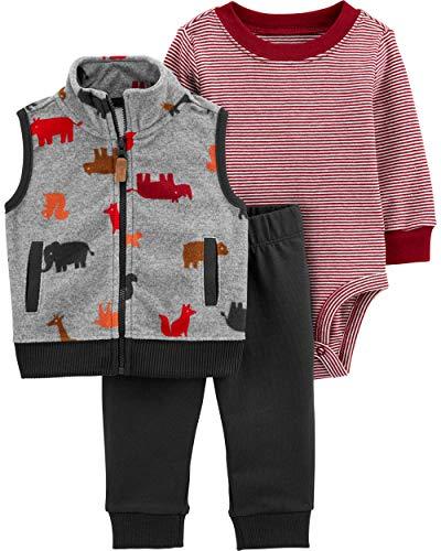 Carter's Baby Boys' Vest Sets (24 Months, Grey/Black)