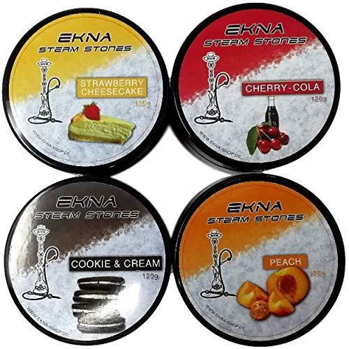 EKNA Steam Stones 4X 120g - Nikotinfreier Shisha Tabak - Shisha Tabak Set Nikotinfrei - Dampfsteine Shisha Set