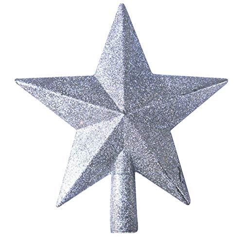 Newin Star Stella di Natale Puntale dell'albero di Natale, Natale Scintillante Cima di Albero Decorativo per Decorazioni Albero di Natale d'Argento