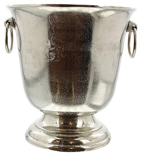 """Dekoleidenschaft Sektkühler """"Champagne"""" aus Aluminium, Silber, im Antik Look, Flaschenkühler"""